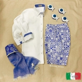 For hot summer days, to be comfortable but always with style 🥰 🇮🇹•contact us for more information, shipments all over the world • 🛍🌍 #maiolica #sorrento #fashion #linen #italy #summer #100linenmadeinitaly #style #shirt #bermuda #scarf